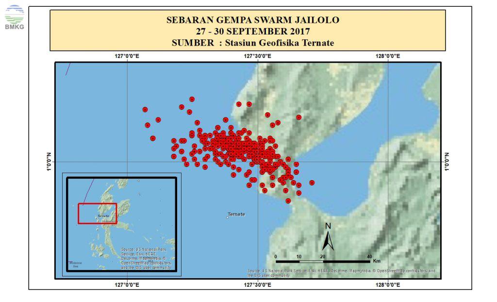 Peta sebaran gempa swarm* Jailolo Maluku Utara